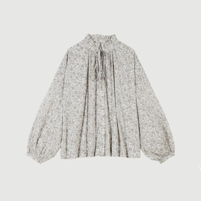 Floral-print cotton shirt : Tops & Shirts color Grey