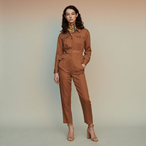 Shirt jumper : Trousers & Jeans color Terracota