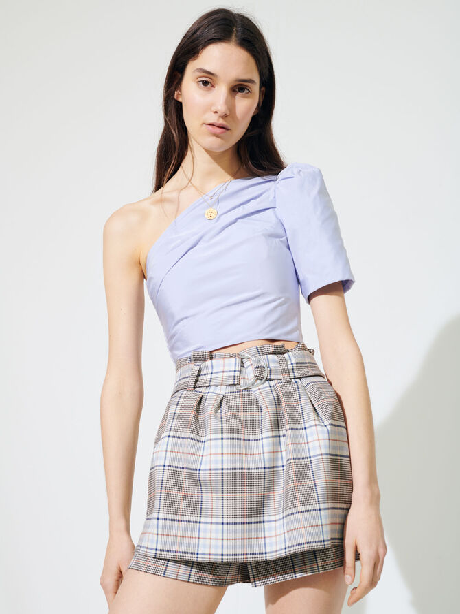 Checked trompe-l'œil culottes - Skirts & Shorts - MAJE
