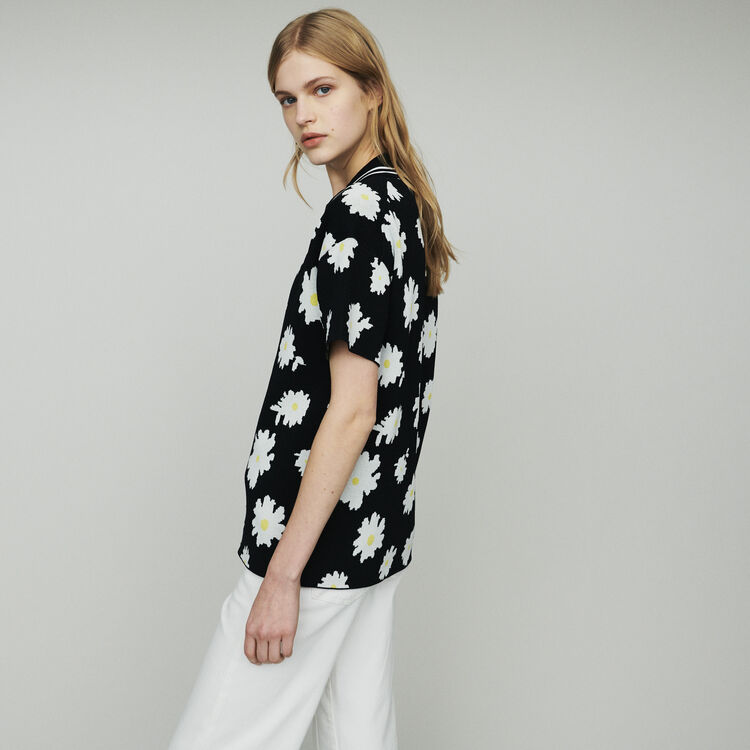 Polo in marguerite jacquard : Pullovers & Cardigans color Jacquard
