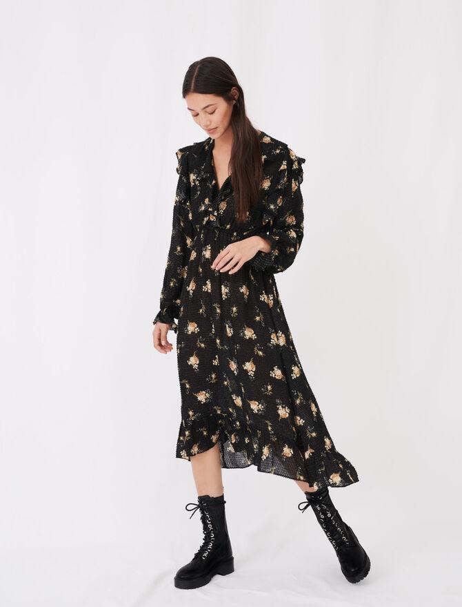 Printed jacquard dress with ruffles -  - MAJE
