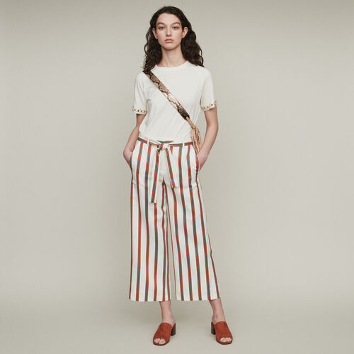 Wide striped pants with belt : Trousers color Stripe