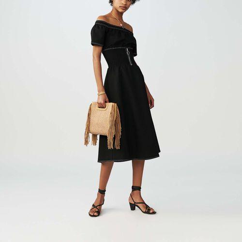 Smocked cold shoulder dress : Dresses color Black 210