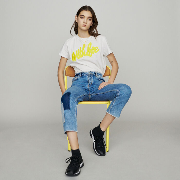 cd1cb1bb114 PIROS Straight-leg jeans with pieces - Trousers   Jeans - Maje.com