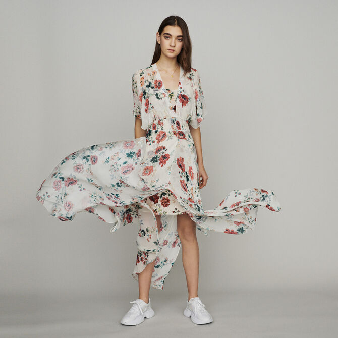 Scarf dress in printed chiffon - See all - MAJE