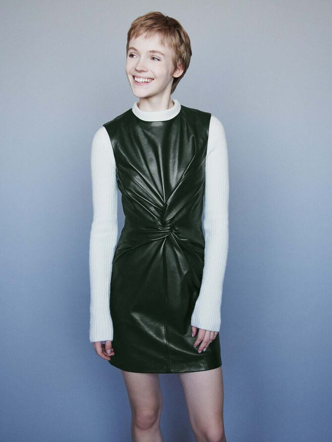 Sleeveless knotted leather dress - -30% - MAJE