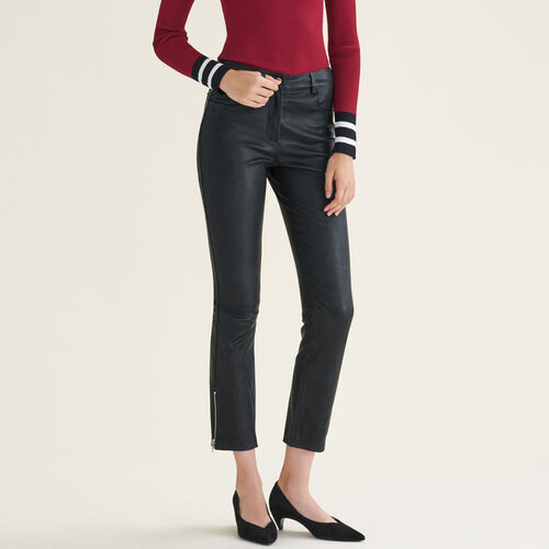 Leather trousers with zip details : Trousers & Jeans color Black 210