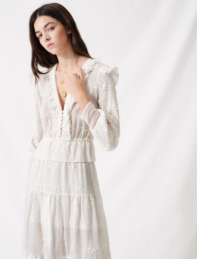 Ecru dress with ruffles and embroidery -  - MAJE