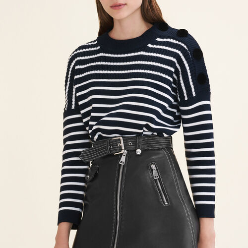 Breton jumper with velvet buttons : Knitwear color Navy