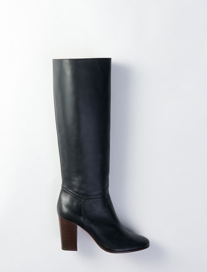 Heeled smooth leather boots - Booties & Boots - MAJE