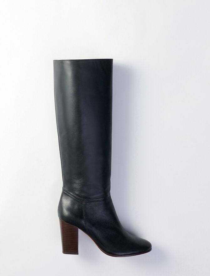 Bottes droites à talon en cuir lisse - Chaussures_Bottines-Bottes - MAJE