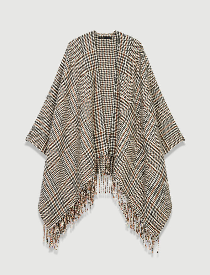 Poncho en laine mélangée -  - MAJE