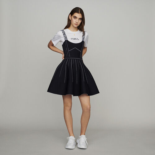 Reversible weaved short dress : Dresses color Black 210