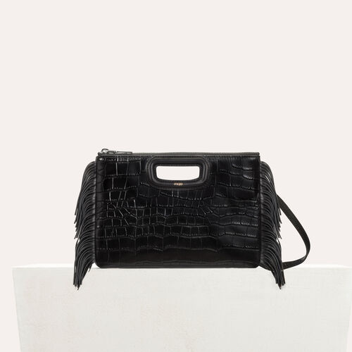 M Duo clutch in crocodile : M Duo color Black 210