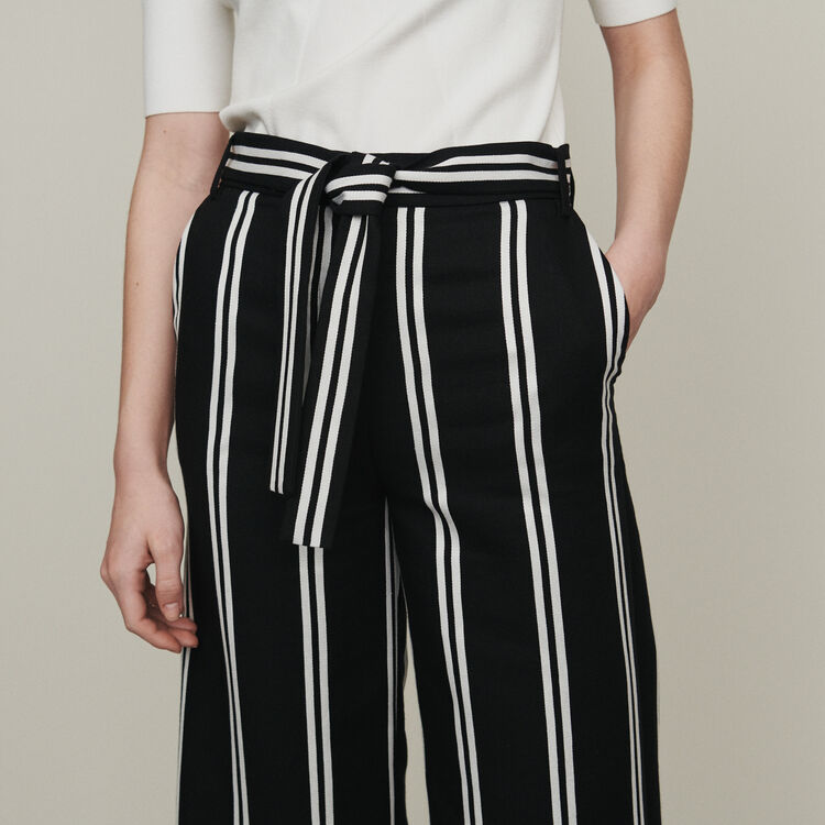 Wide 7/8 striped pants : Trousers color Stripe