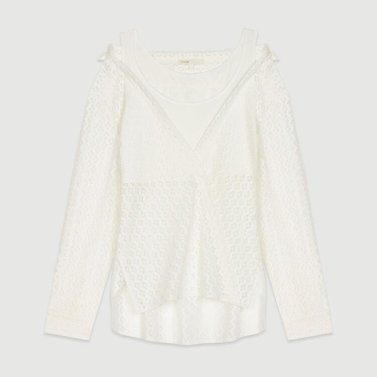 Trompe l'oeil shirt in geometric guipure : Tops color WHITE
