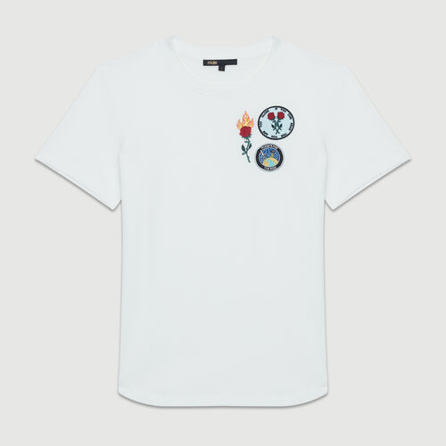Cotton T-shirt with patch : T-Shirts color White