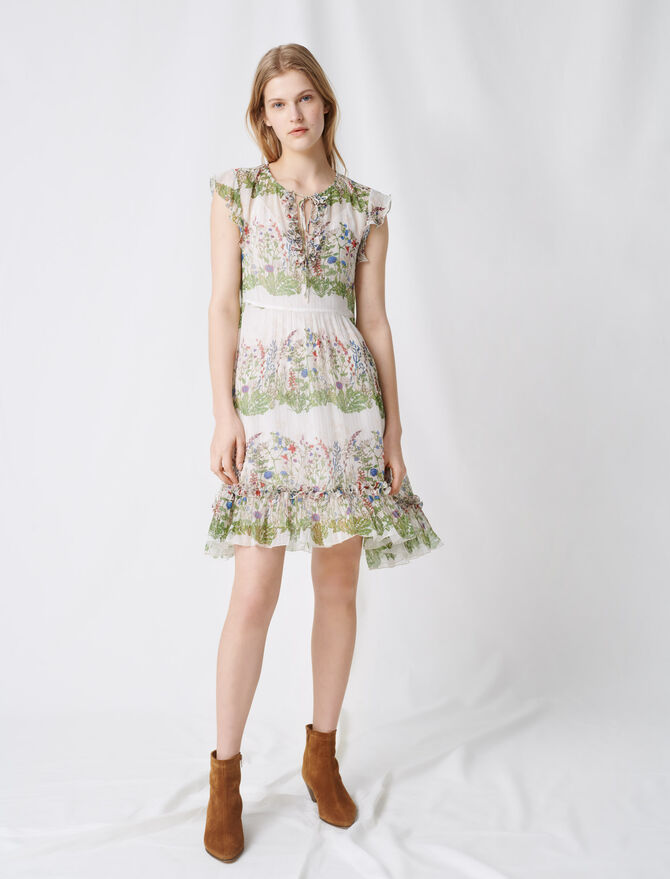 Printed silk dress -  - MAJE