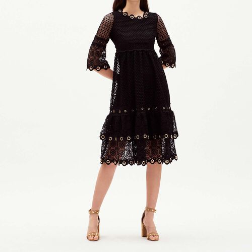Long guipure lace dress : Majexclusive color Black 210