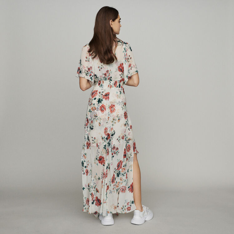 Scarf dress in printed chiffon : Dresses color Printed