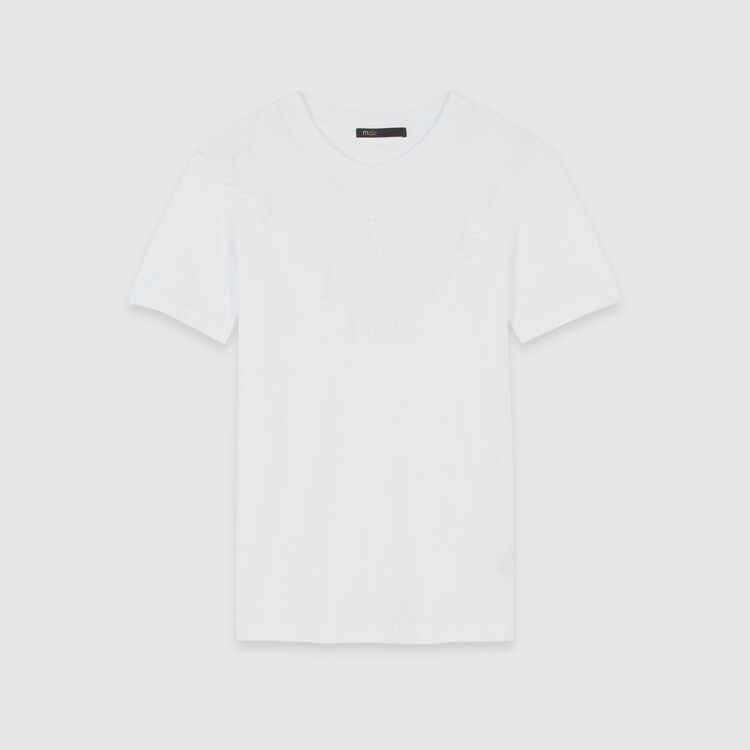 T-shirt with lace trim : T-Shirts color White