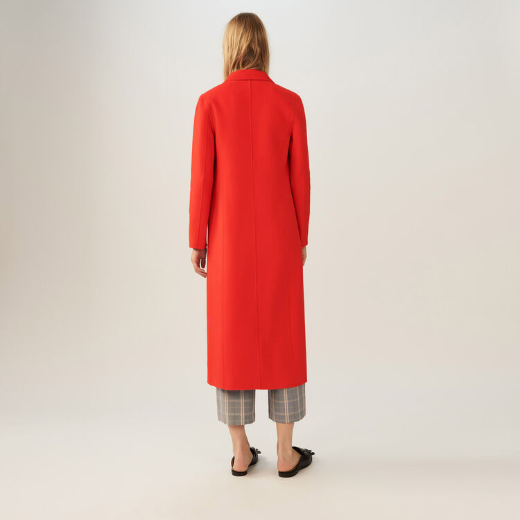 Long coat double face : Coats color Orange