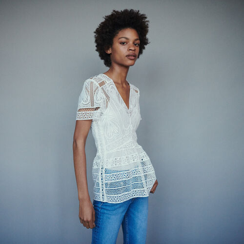 Top in guipure with basque  : Tops & Shirts color Off White