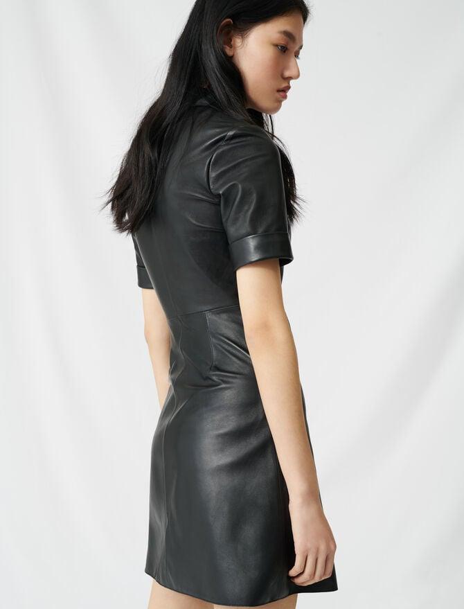 Buttoned leather shirt dress -  - MAJE