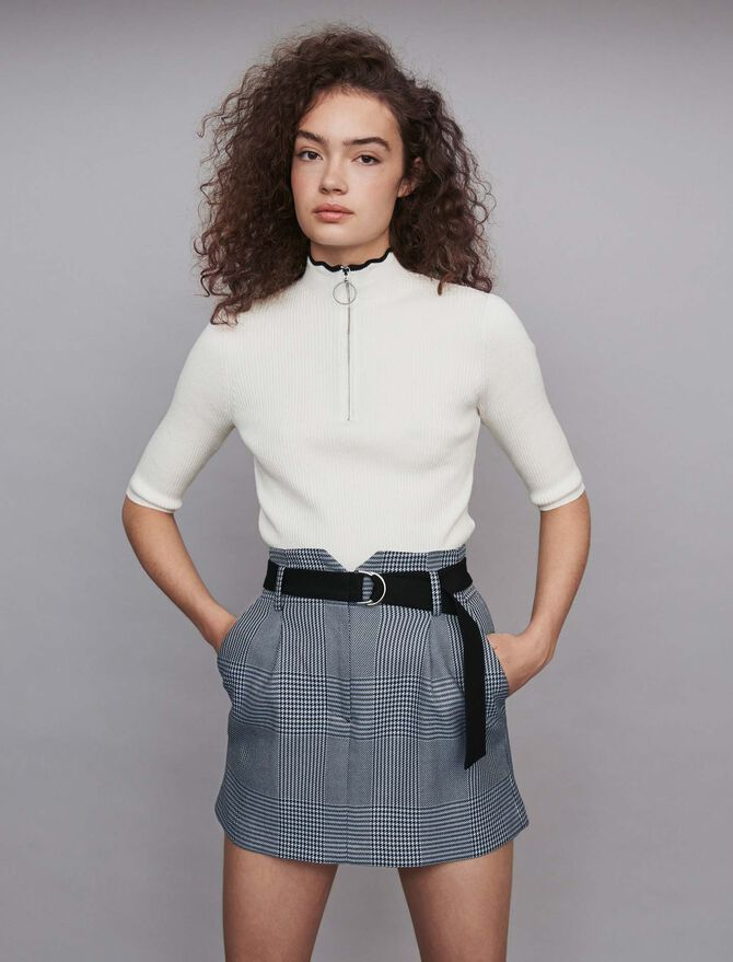 Short belted plaid skirt - Skirts & Shorts - MAJE