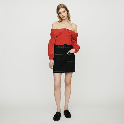 Short skirt with stitched detailing : New in : Summer Collection color Black 210