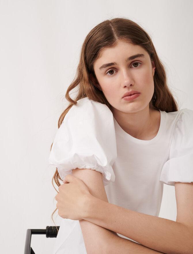 White mixed material T-shirt - Eco-friendly - MAJE