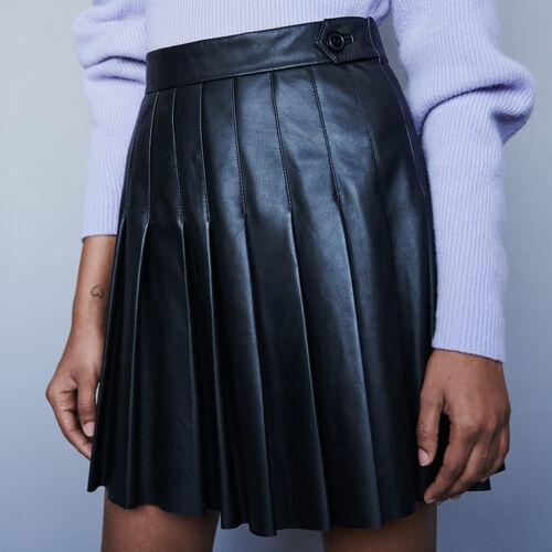 Jupe plissée en cuir : Pap_Jupes-Shorts couleur Noir