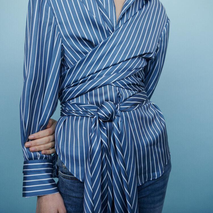 Wrap blouse with stripes : Shirts color Stripe
