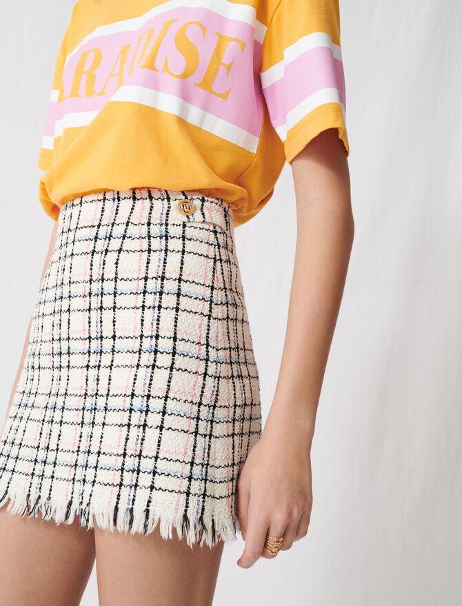 Jupe courte façon tweed à franges - Pap_Jupes-Shorts - MAJE