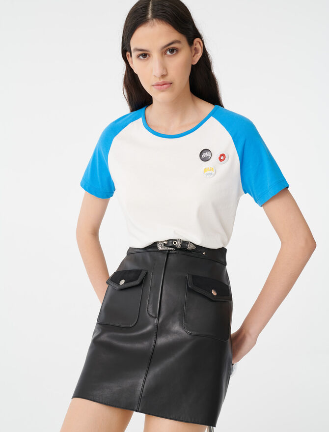 T-shirt with contrasting sleeves -  - MAJE