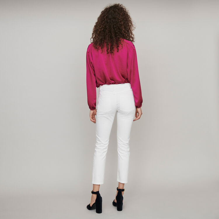 Straight-cut ripped jeans with pockets : Trousers & Jeans color White