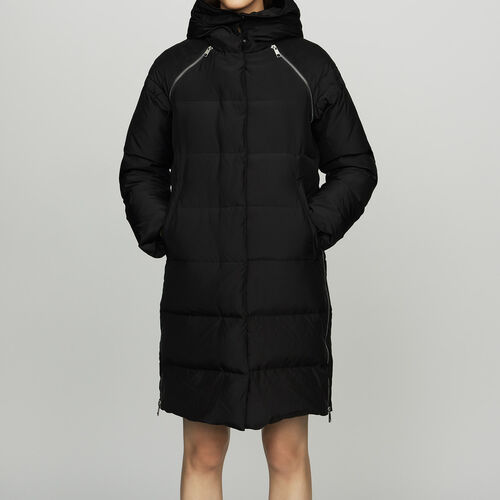Long down jacket with hood : Coats color Black 210