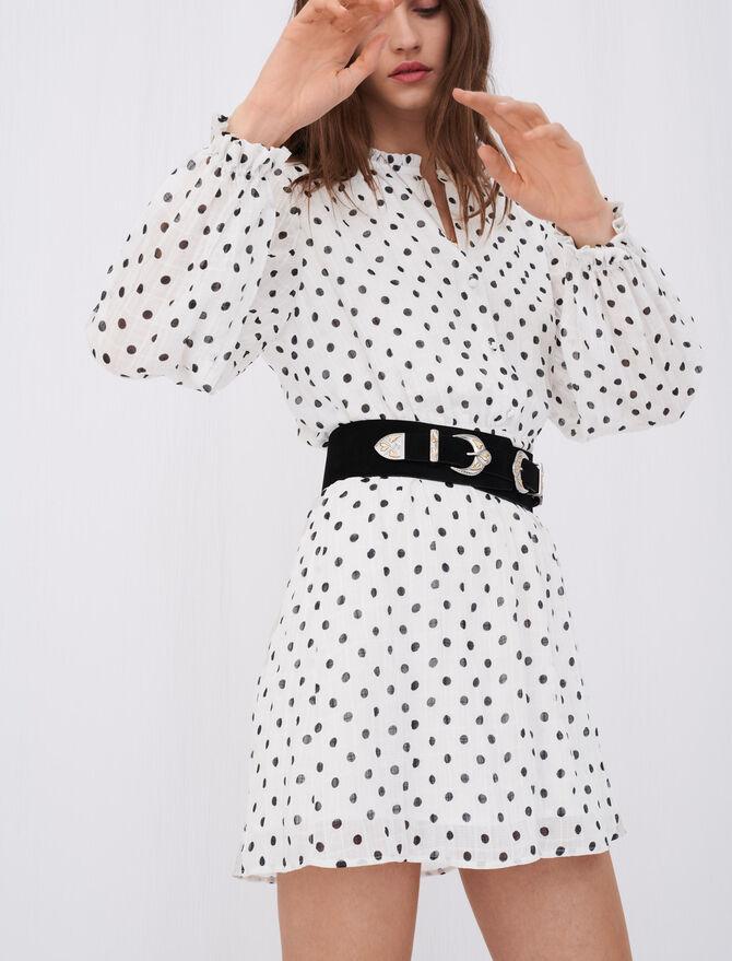 Crinkle-effect, belted polka dot dress - Dresses - MAJE