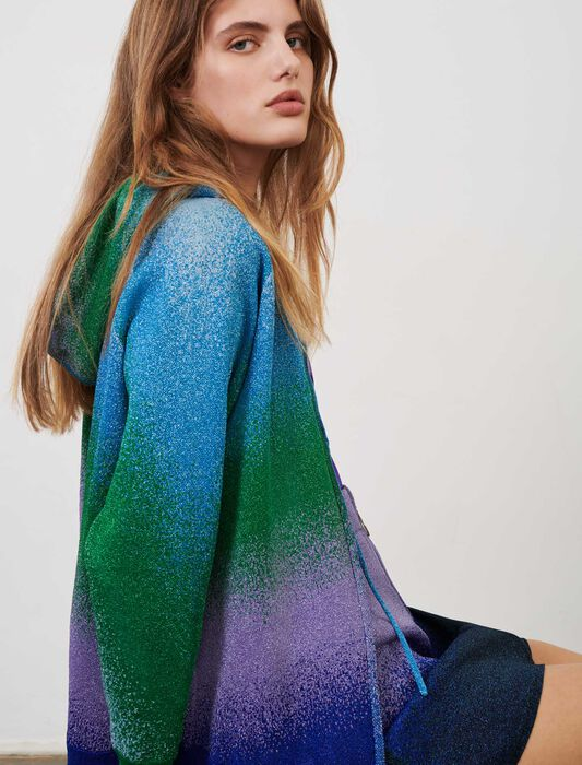 Lurex knit hooded cardigan : Pullovers & Cardigans color Ocean