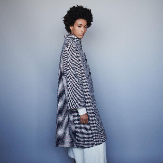 Manteau long en laine pied-de-poule - staff-private-sale - MAJE