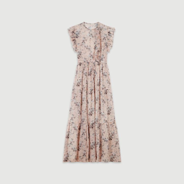 Long printed-cotton voile dress : Dresses color Nude