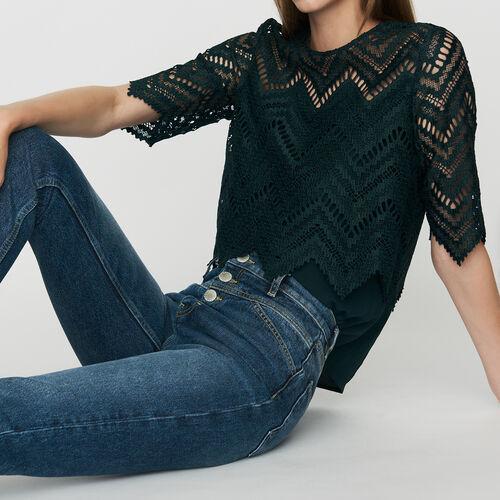 Straight, high-waist jeans : Jeans color Blue