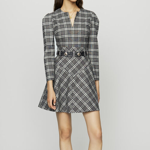 Wool blend plaid dress : Dresses color CARREAUX