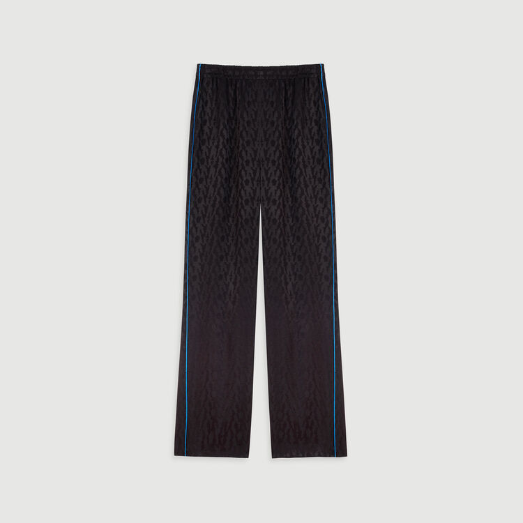 Flowing satin jacquard pants : Trousers & Jeans color Black