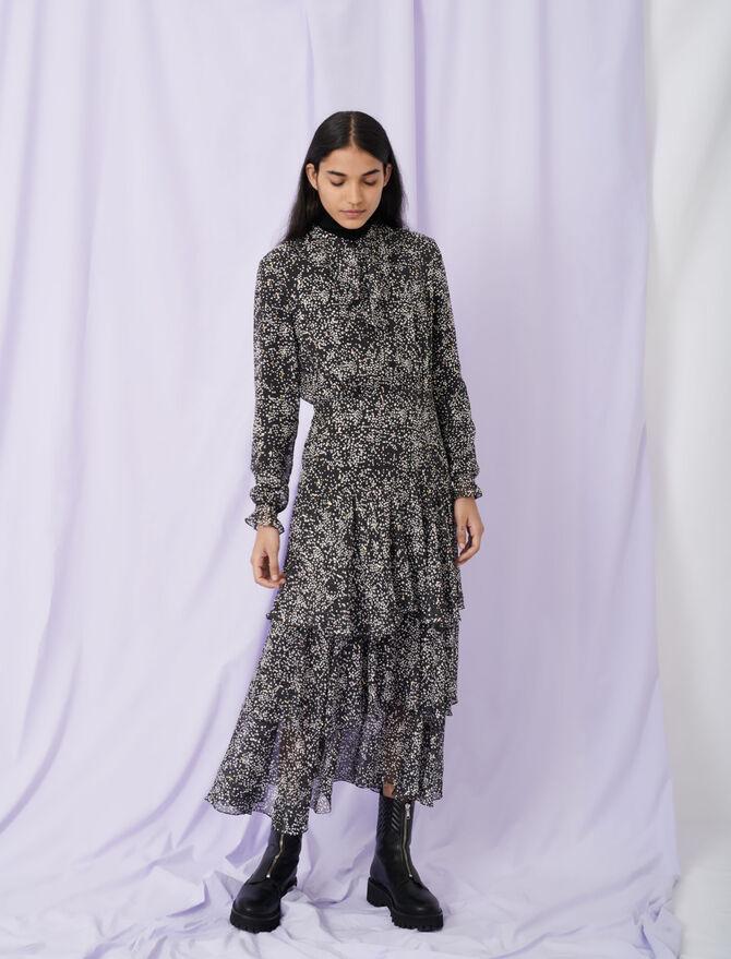 Printed lurex silk dress with ruffles - Dresses - MAJE