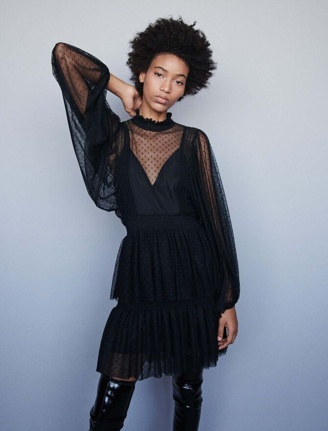 Plumetis tulle dress with ruffles - Dresses - MAJE