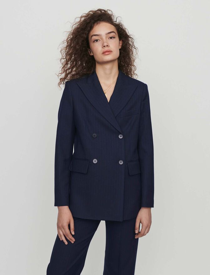 Racing-striped double breasted jacket - Jackets & Blazers - MAJE