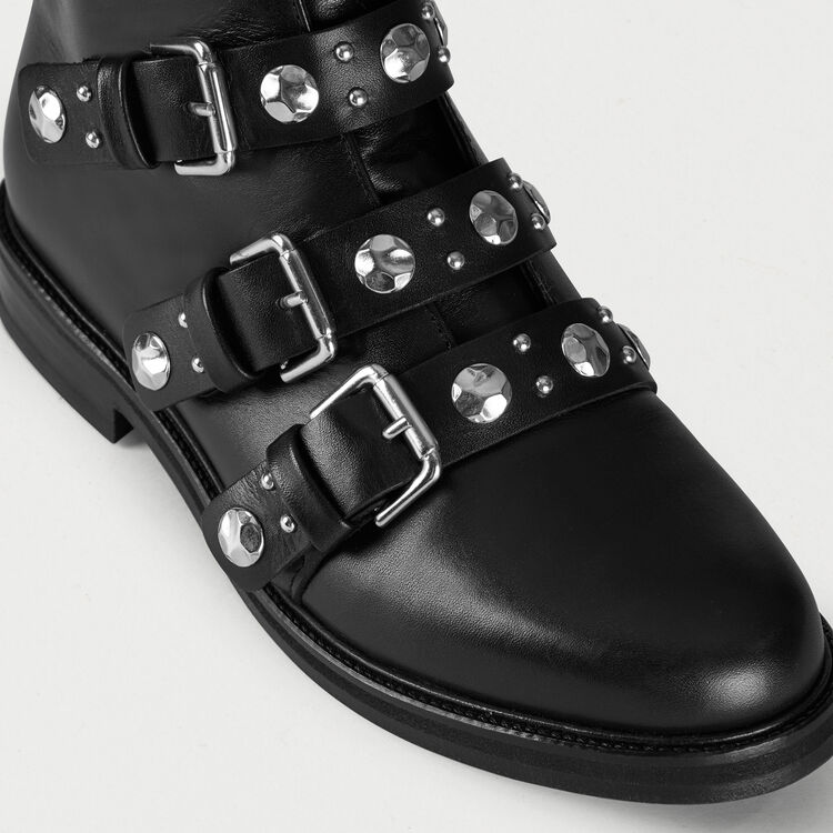 Multi-straps leather booties : Booties color Black 210
