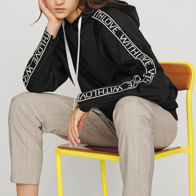 Hooded sweat-shirt withslogan band - Tops - MAJE