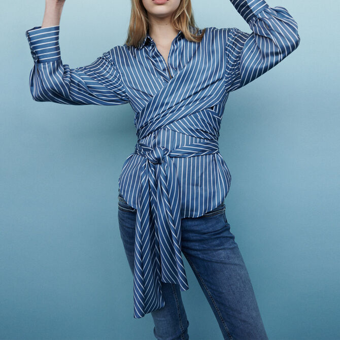 Wrap blouse with stripes - See all - MAJE